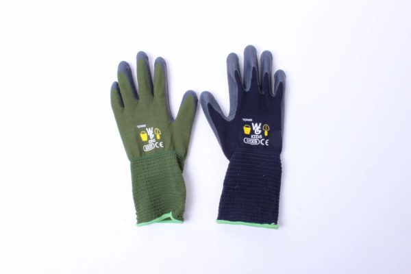 Green and blue kids garden gloves