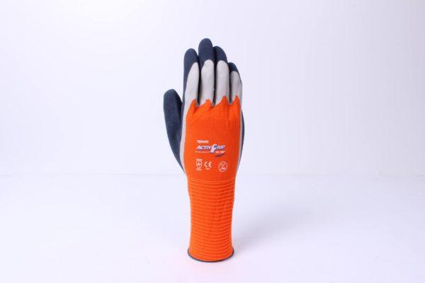Orange and blue garden gloves