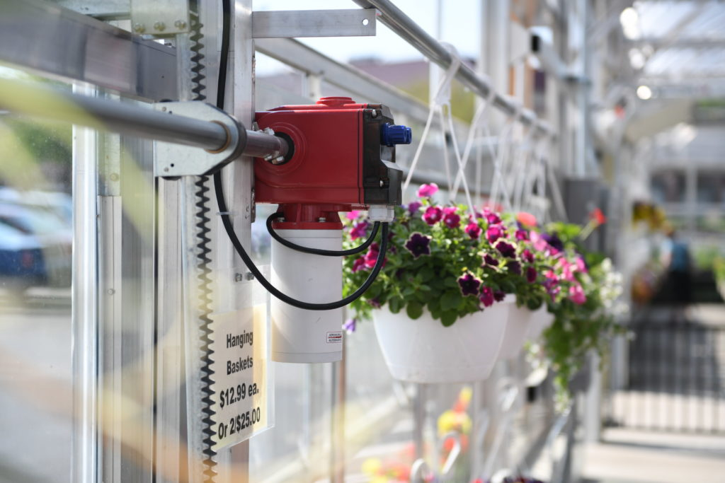flower greenhouse using low voltage motors to roll up the sidewalls for natural ventilation